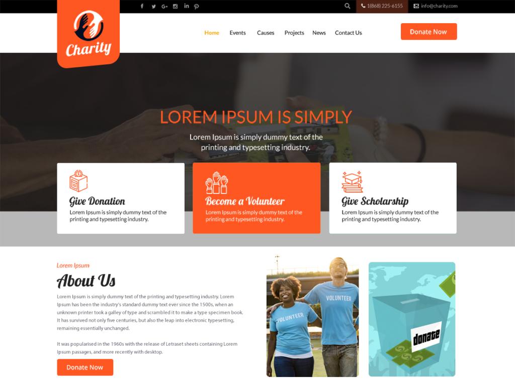 Professional Charity WordPress theme