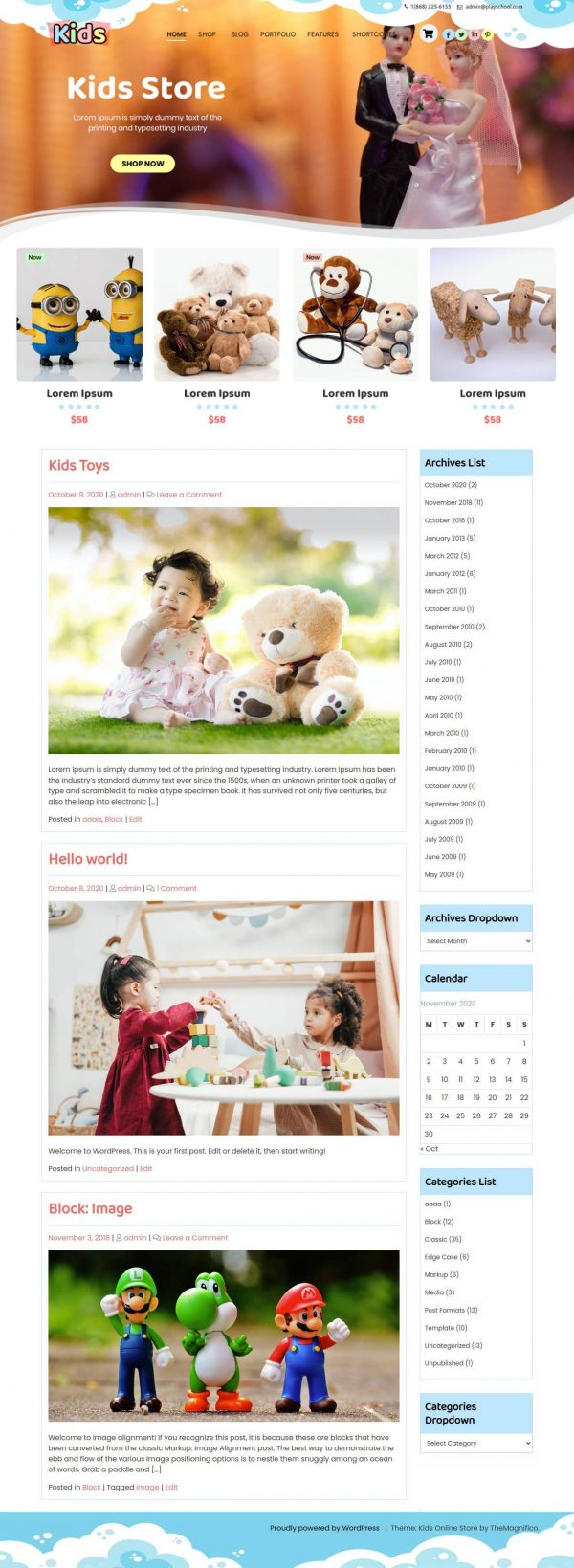 Free Kids WordPress Theme