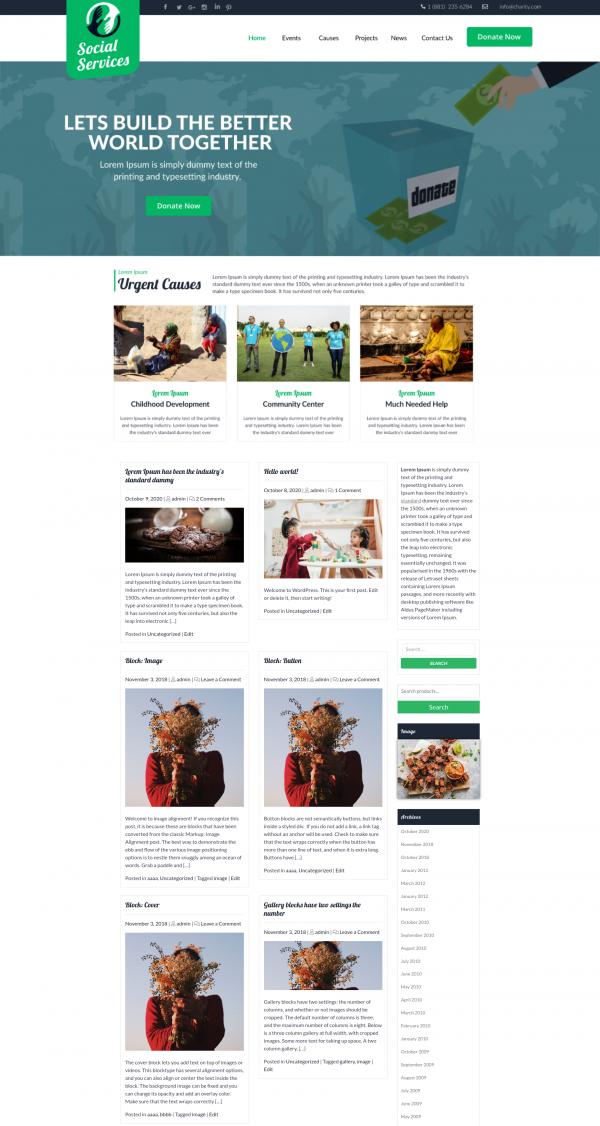 Free Social Services Wordpress Theme